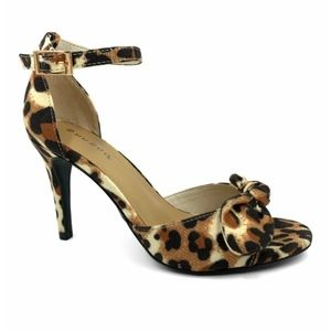 Bamboo leopard bow ankle-strap manners sandal